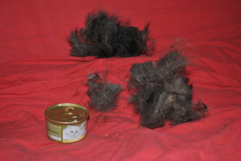 three significant piles of matted fur