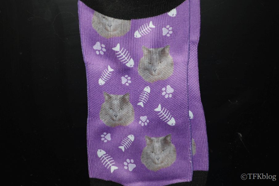 customized purple socks with a nebelung cat face on them